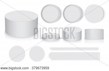 Round Box Is Easy To Change Colors Mock Up Vector Template