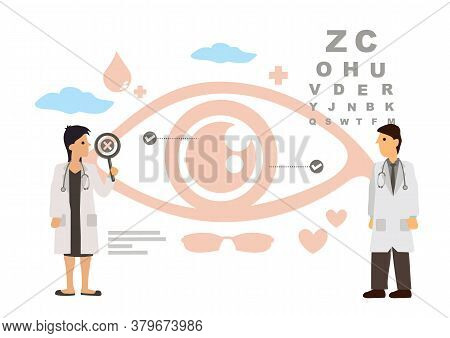 Eye Doctor Concept Of Optometrist And Ophthalmologist Medical Staff People With Glasses, Vision Test