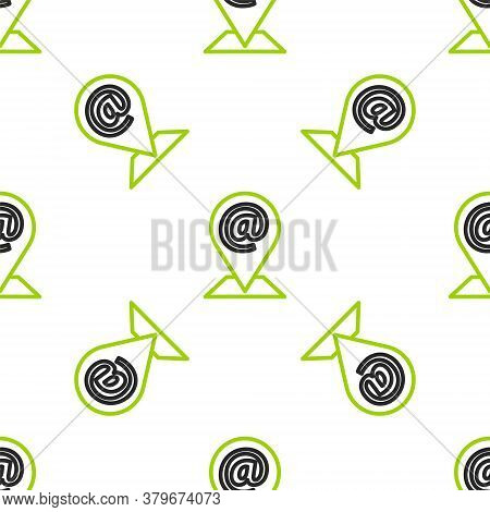 Line Location And Mail And E-mail Icon Isolated Seamless Pattern On White Background. Envelope Symbo