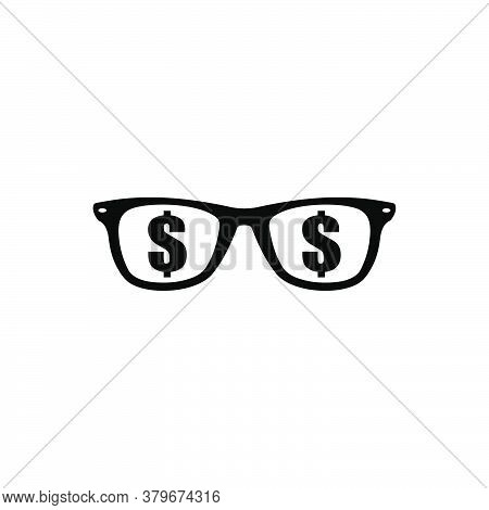 Eyeglasses With Dollar Icon Vector. Eyeglasses Icon Isolated On White Background. Eyeglasses Icon Si