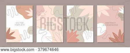 Set Of Abstract Creative Artistic Templates With Autumn Concept. Universal Cover Designs For Annual