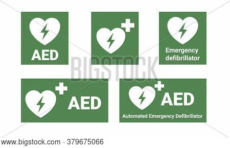 Aed Emergency Defibrillator Location Signs Or Stickers. Automated External Defibrillator