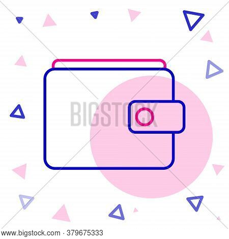 Line Wallet Icon Isolated On White Background. Purse Icon. Cash Savings Symbol. Colorful Outline Con