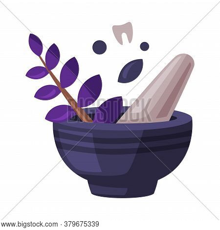 Mortar And Pestle, Witchcraft Attributes, Happy Halloween Object Cartoon Style Vector Illustration O