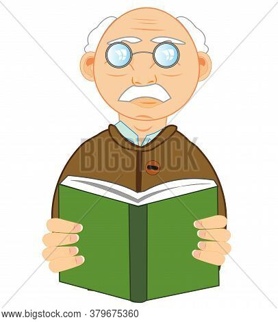 Man Of The Elderly Age With Book In Hand