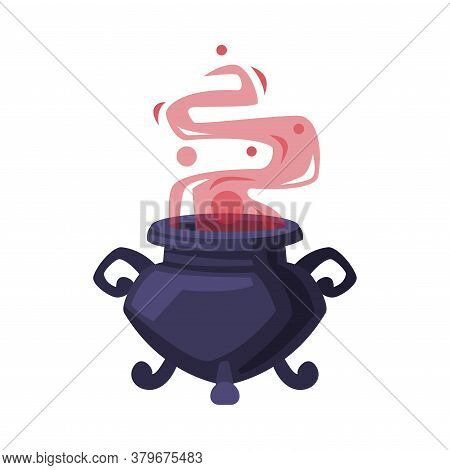Witch Cauldron With Boiling Potion, Witchcraft Attribute, Happy Halloween Object Cartoon Style Vecto