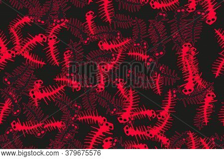 Red And Black Contour Lizards Seamless Pattern