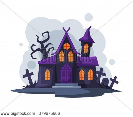 Scary Gothic House, Halloween Haunted Mansion Cartoon Style Vector Illustration On White Background