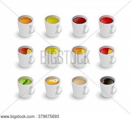 Realistic 3d Cup Of Hot Aromatic Beverage Set. A Teacup With Green, Black, Herbal Chamomile Tea, Roo