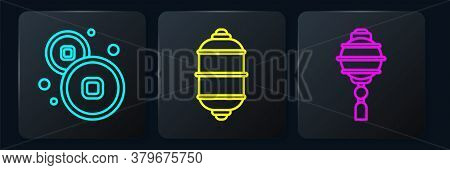 Set Line Chinese Yuan Currency, Chinese Paper Lantern And Chinese Paper Lantern. Black Square Button