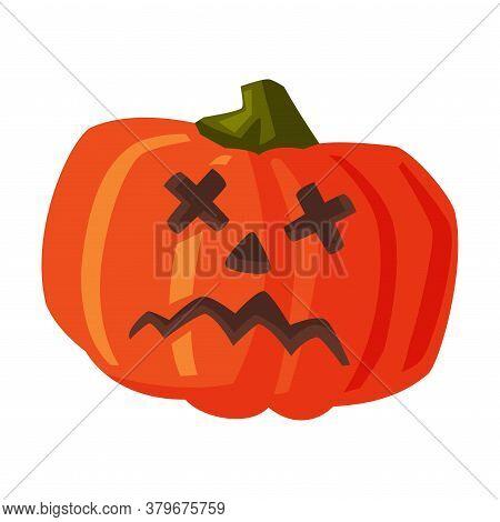 Halloween Scary Pumpkin, Happy Halloween Object Cartoon Style Vector Illustration On White Backgroun