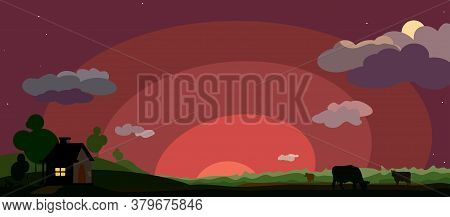 House With The Lights On In The Window Against A Landscape With Silhouettes Of Cows Grazing On The F