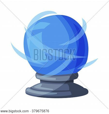 Blue Fortune Telling Magic Crystal Ball, Witchcraft Attribute, Happy Halloween Object Cartoon Style