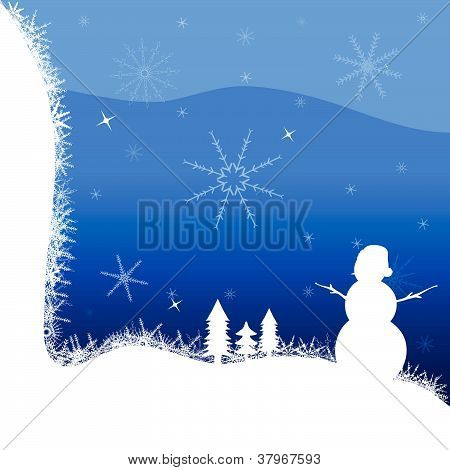 Snowman And Winter Vector Illustration