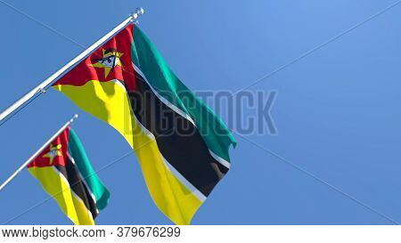 3d Rendering Of The National Flag Of Mozambique Waving In The Wind