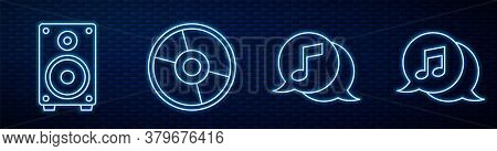 Set Line Musical Note In Speech Bubble, Stereo Speaker, Cd Or Dvd Disk, Musical Note In Speech Bubbl