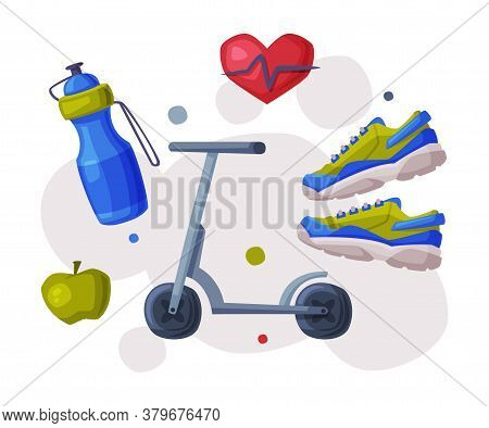 Sports And Healthy Lifestyle, Cardio Workout, Kick Sooter, Bottle Of Water, Apple, Sneakers Cartoon