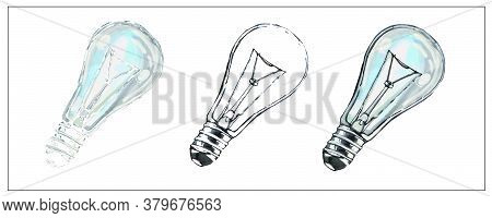 Lamp. Set Of Vector Isolated Image Of A Glass Incandescent Lamp. You Can Rotate, Resize. Interior It