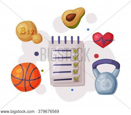 Sports And Healthy Lifestyle, Checklist, Basketball Ball, Healthy Food, Supplements, Kettlebell Cart