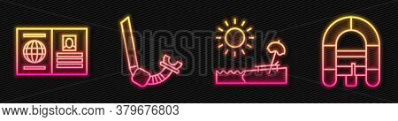 Set Line Beach With Umbrella And Chair, Passport, Snorkel And Rafting Boat. Glowing Neon Icon. Vecto