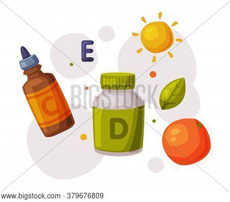 Healthy Diet, Proper Nutrition, Supplements, Vitamins Cartoon Style Vector Illustration