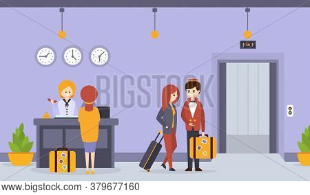 Hotel Reception, Woman Receptionist Standing At Reception Desk Registering Guest, Porter Man Carryin