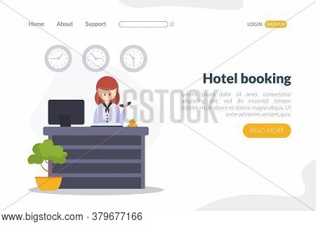 Hotel Booking Landing Page Template, Online Reservation Of Hotel Room Wensite, Mobile App Service Fo