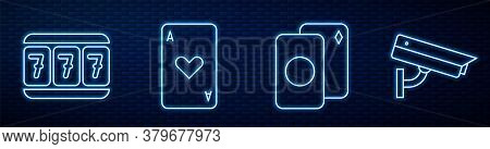 Set Line Deck Of Playing Cards, Slot Machine With Lucky Sevens, Playing Card With Heart And Security
