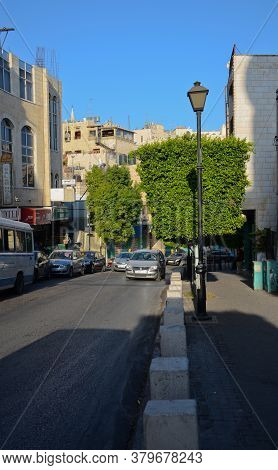 October 22, 2016. Bethlehem, Palestine, Israel. Bethlehem In The Morning Light. The Modern Road In T