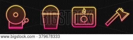 Set Line Fire Alarm System, Ringing Alarm Bell, Fire Bucket And Firefighter Axe. Glowing Neon Icon.