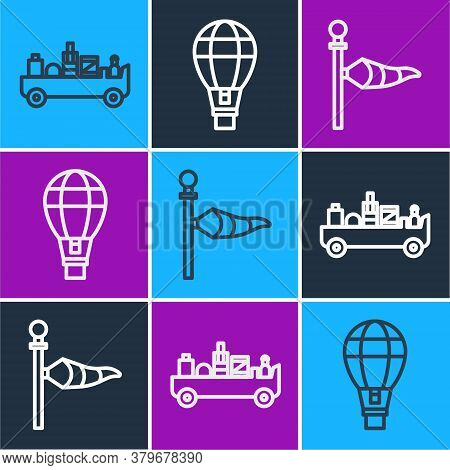 Set Line Airport Luggage Towing Truck, Cone Meteorology Windsock Wind Vane And Hot Air Balloon Icon.