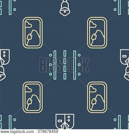 Set Line Pilot, Airplane Window And Airport Runway On Seamless Pattern. Vector