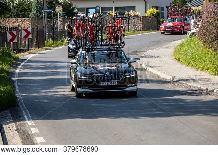 Krakow, Poland - August 4, 2018:  Team Vehicle On The Route Of Tour De Pologne Bicycle Race. Tdp Is