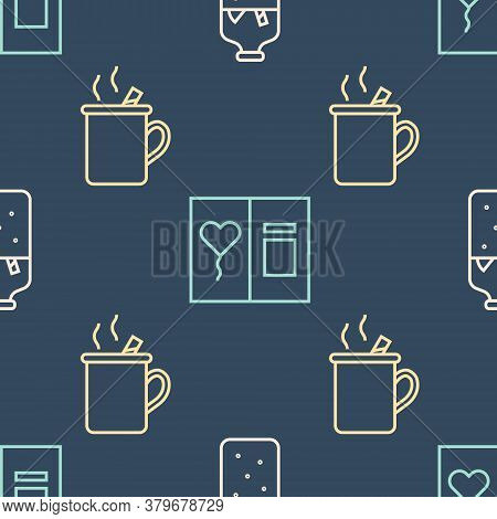 Set Line Mulled Wine, Mulled Wine And Greeting Card On Seamless Pattern. Vector