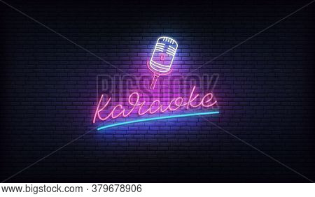 Karaoke Neon Sign. Neon Label With Microphone And Karaoke Lettering