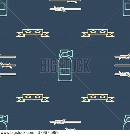 Set Line Barbed Wire, Thief Eye Mask And Fire Extinguisher On Seamless Pattern. Vector