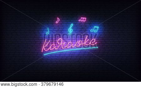 Karaoke Neon. Neon Sign With Musical Notes And Karaoke Lettering