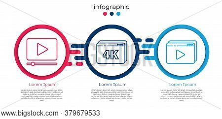 Set Line Online Play Video, Online Play Video With 4k And Online Play Video. Business Infographic Te