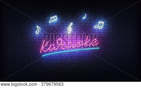 Karaoke Neon. Neon Sign With Music Notes And Karaoke Lettering