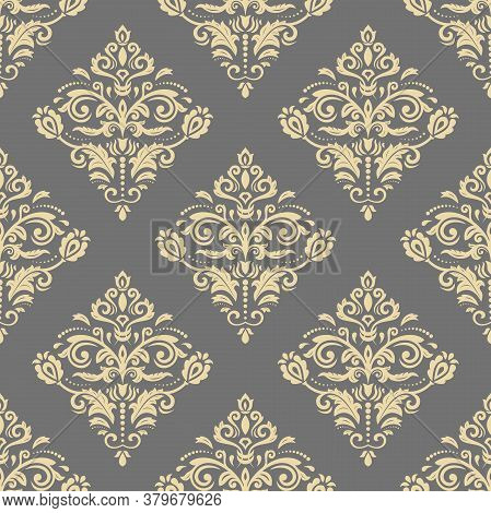 Orient Vector Classic Pattern. Seamless Abstract Gray And Golden Background With Vintage Elements. O