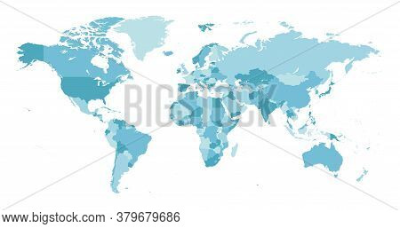 World Map. Highly Detailed Map Of The World With Detailed Borders Of All Countries In Blue Colors.