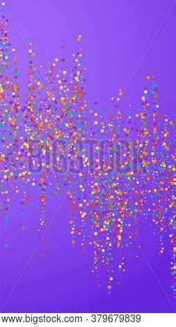 Festive Trending Confetti. Celebration Stars. Joyous Confetti On Violet Background. Fresh Festive Ov