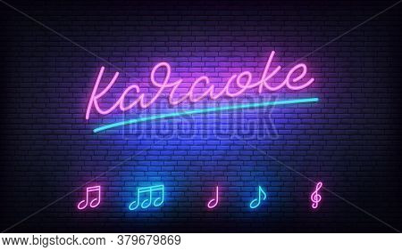 Karaoke Neon Template. Neon Sign With Karaoke Lettering And Music Notes