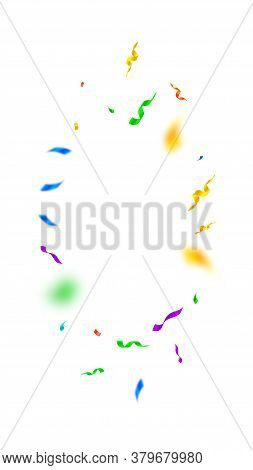 Streamers And Confetti. Colorful Streamers Tinsel And Foil Ribbons. Confetti Vignette On White Backg