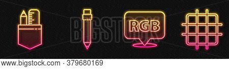 Set Line Speech Bubble With Rgb And Cmyk, Crossed Ruler And Pencil, Pencil With Eraser And Grid Grap