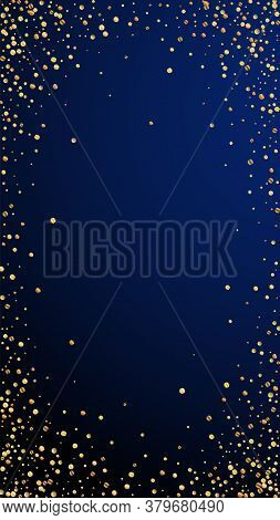 Festive Enchanting Confetti. Celebration Stars. Gold Confetti On Dark Blue Background. Favorable Fes