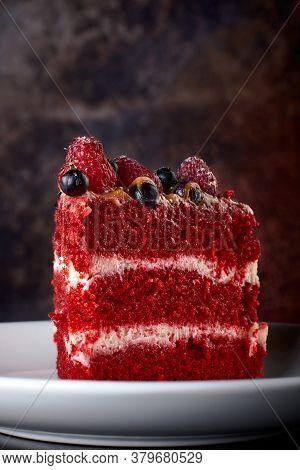Red Velvet Cake On Wood Board. Slice Of Cake. Raspberry Cake. Devils Cake. Wedding Dessert.delicious