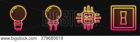 Set Line Processor With Microcircuits Cpu, Light Bulb With Concept Of Idea, Light Emitting Diode And