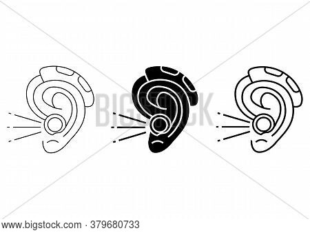 Hearing Amplifier. Acoustic Sound Enhancer In Outline And Glyph Style. Hearing Loss Therapy. Amplifi