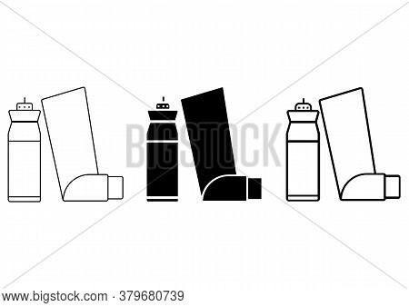 Asthma Inhaler. Breather For Cough Relief, Inhalation, Allergic Patient. Simple Outline, Glyph And F